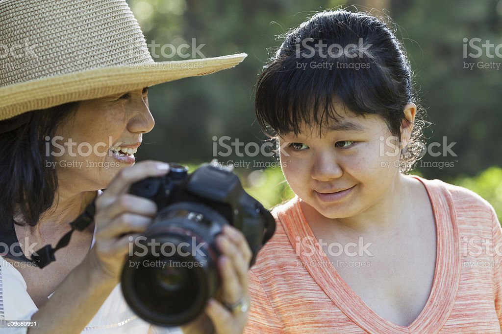 Mature woman with adult autistic daughter stock photo