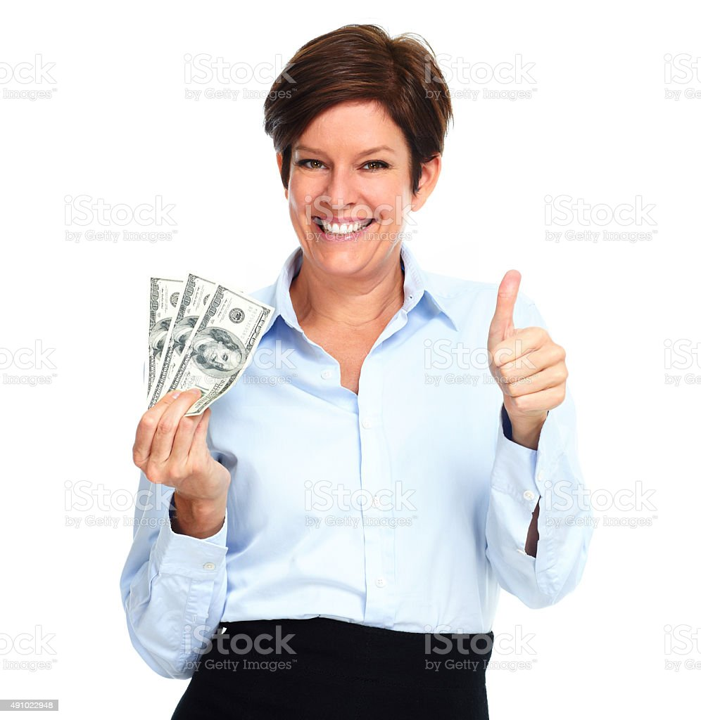 Mature woman with american dollars money. stock photo