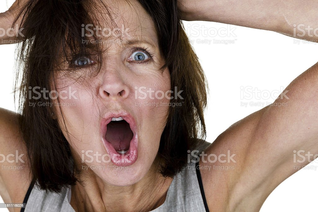 Mature woman with an angry expression royalty-free stock photo