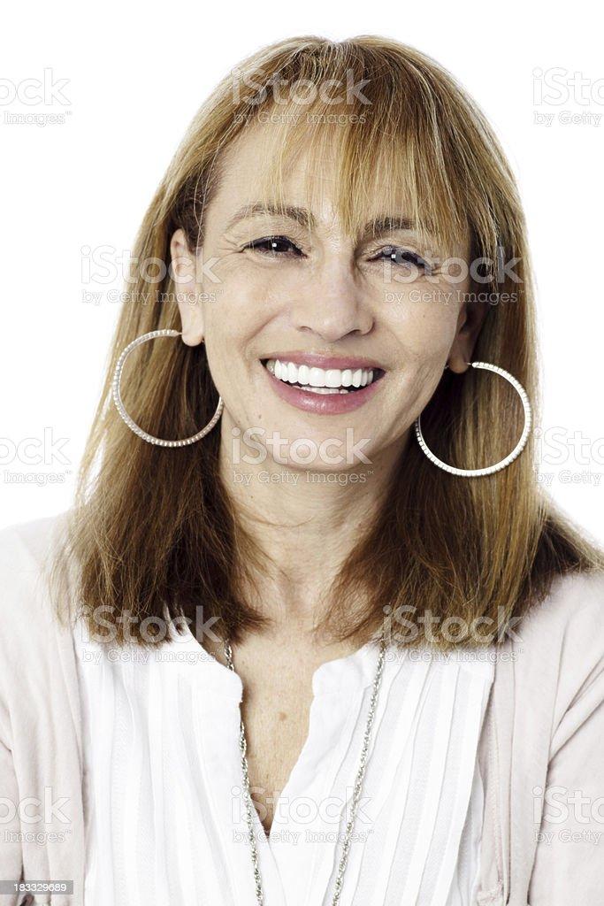 Mature woman with big earrings stock photo