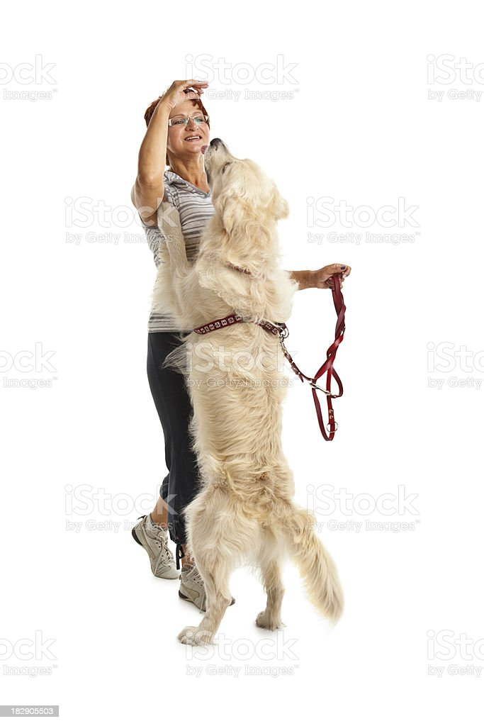 mature woman with her dog royalty-free stock photo
