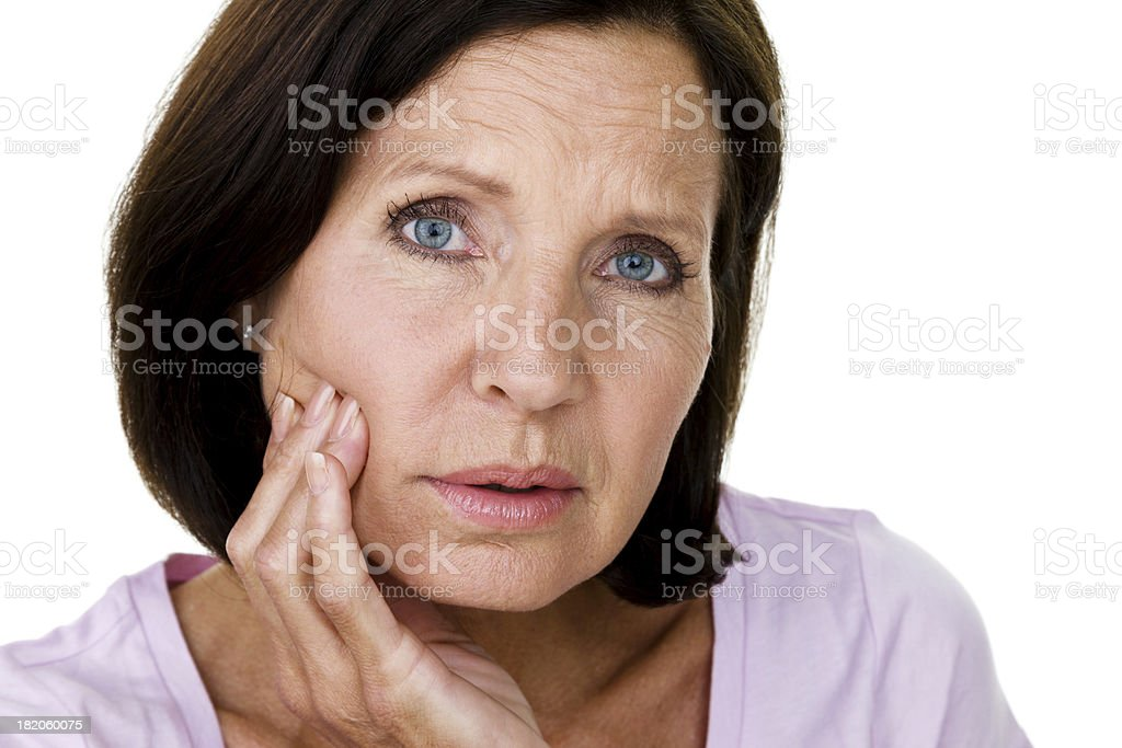 Mature woman with toothache royalty-free stock photo