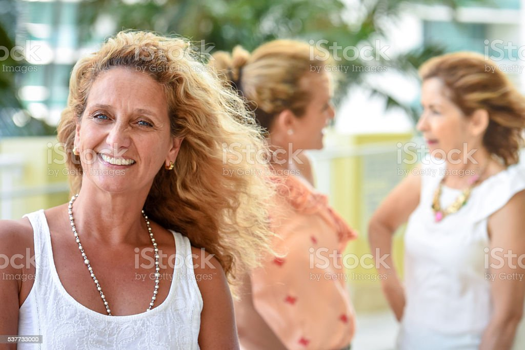 Mature women at a family stock photo