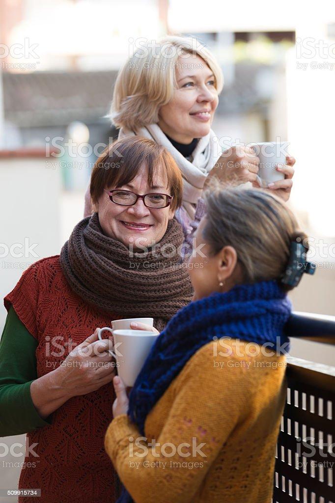 Mature women drinking tea stock photo