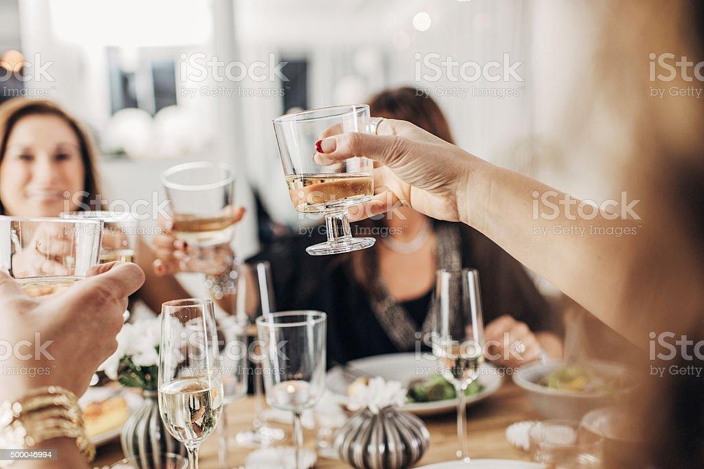 Mature women having dinner party stock photo