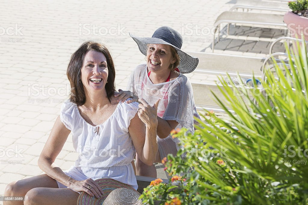 Mature women on vacation stock photo