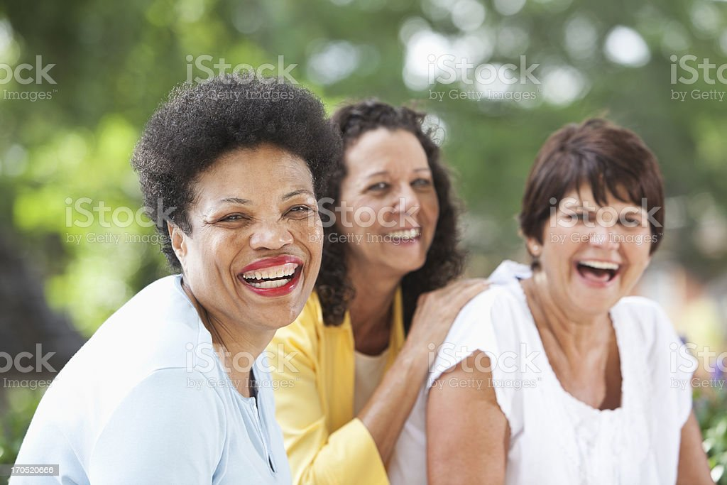 Mature women smiling stock photo