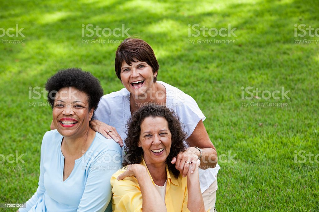 Mature women smiling royalty-free stock photo