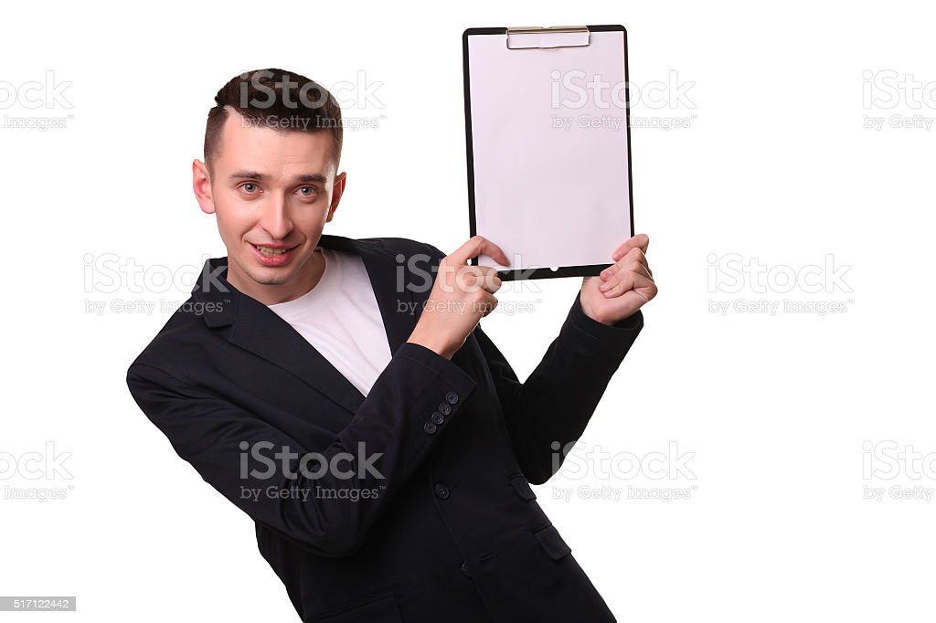Matured male indicating down at whiteboard isolated over white royalty-free stock photo