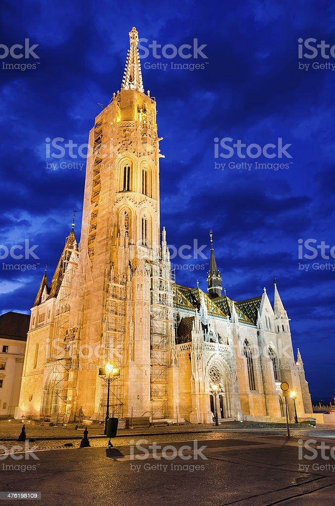 Matyas or Matthias Church in Budapest, twilight. stock photo