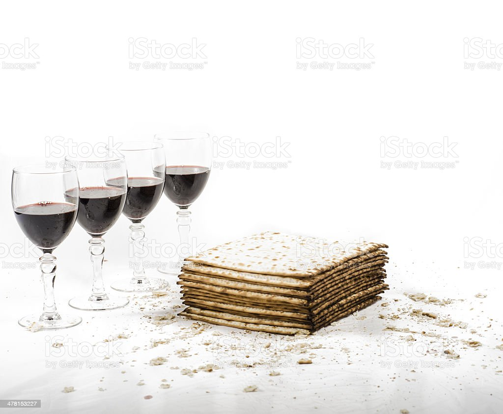 Matza and Four Cups of Wine stock photo