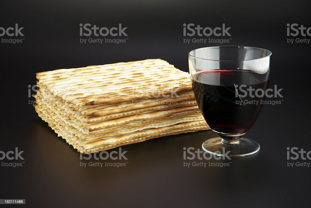 Matza and red wine royalty-free stock photo