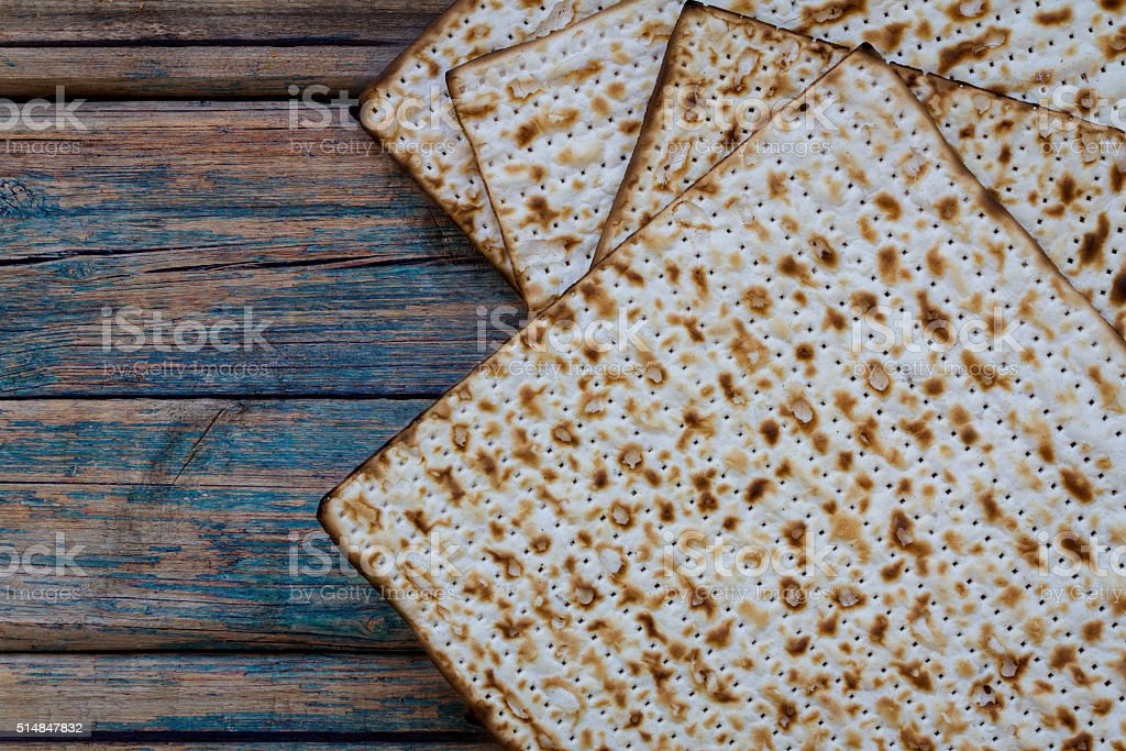 Matza on a rustic wood background stock photo