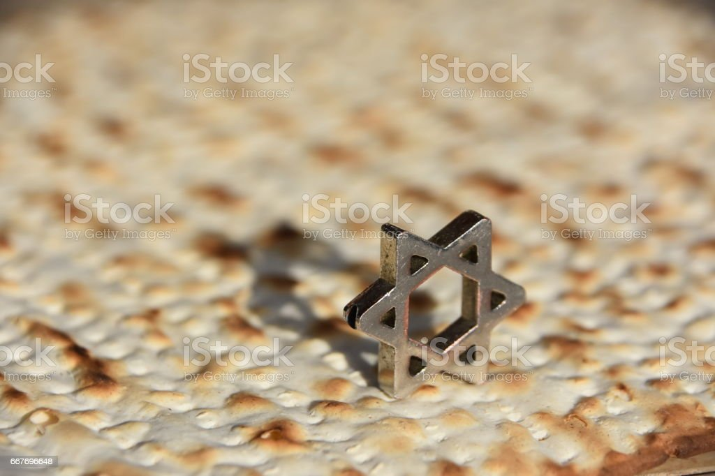 Matza, Star of David stock photo