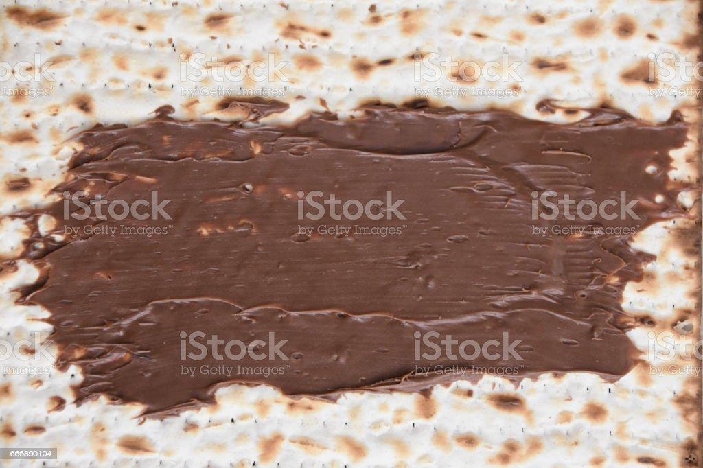 Matza with chocolate stock photo
