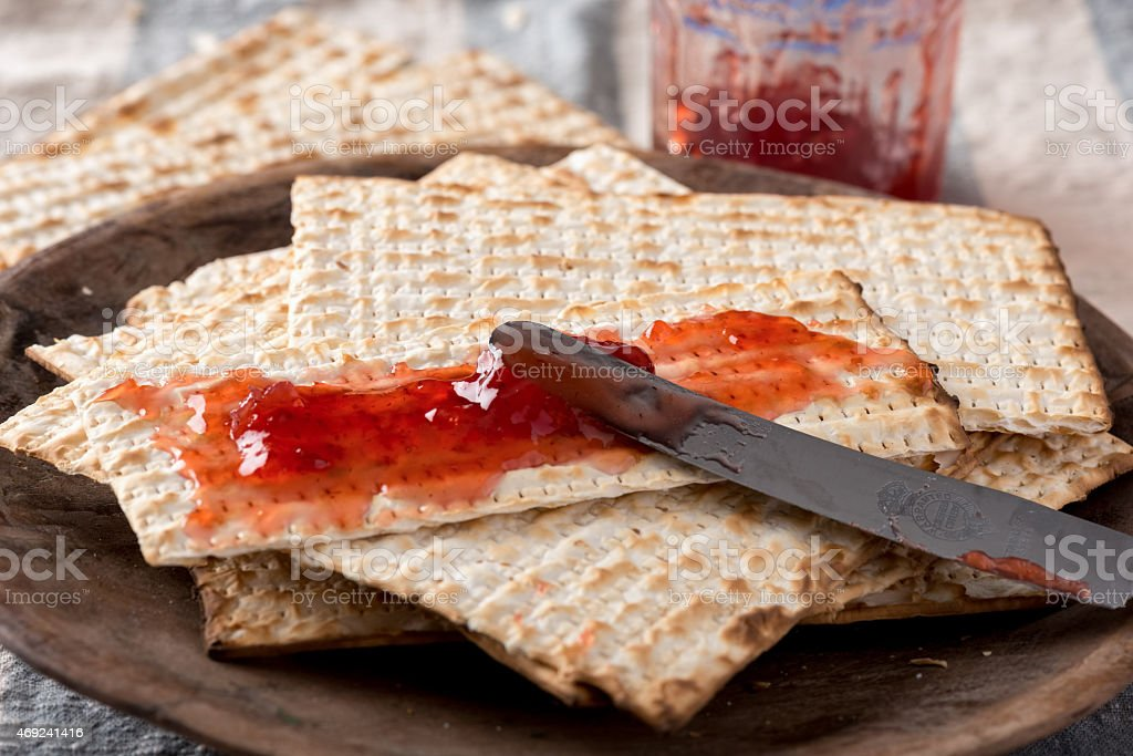 Matzah  with Preserves - Unleavened Bread for Passover stock photo