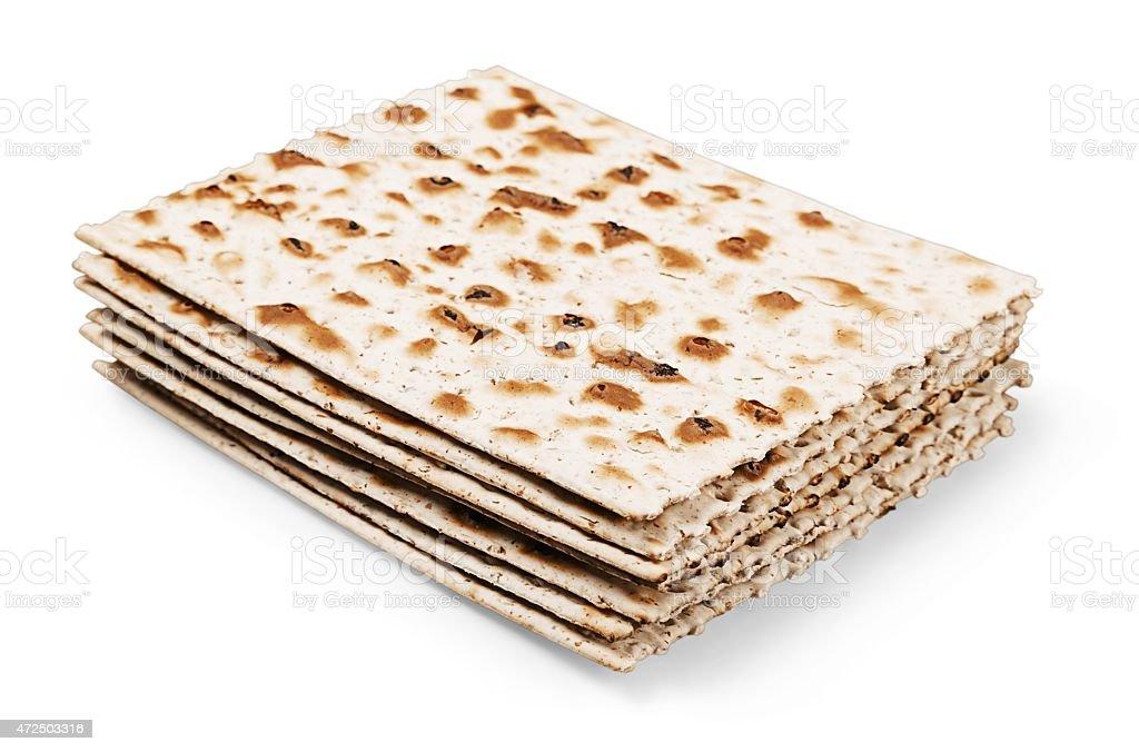 Matzahs. Jewish passover matzah isolated on white stock photo
