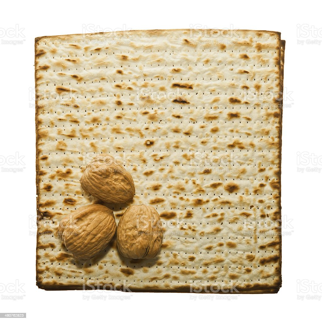 Matzo and three walnuts royalty-free stock photo