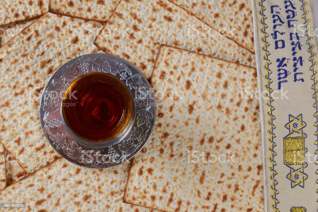 Matzo and wine in for passover celebration stock photo