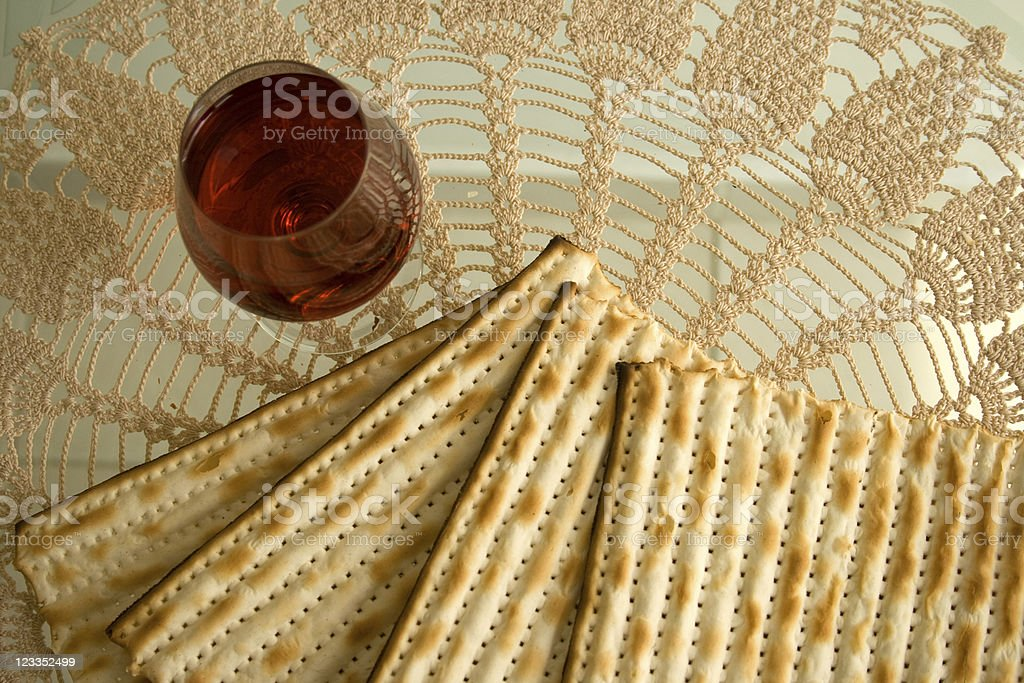 matzo and wine stock photo