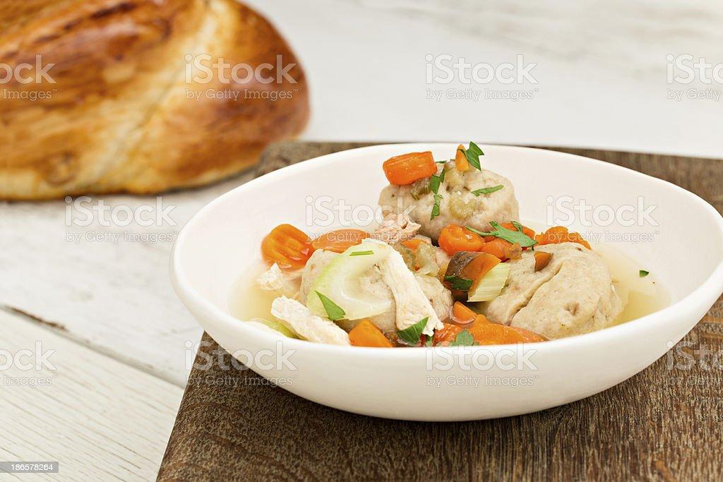 Matzo Ball  Soup And Challah stock photo
