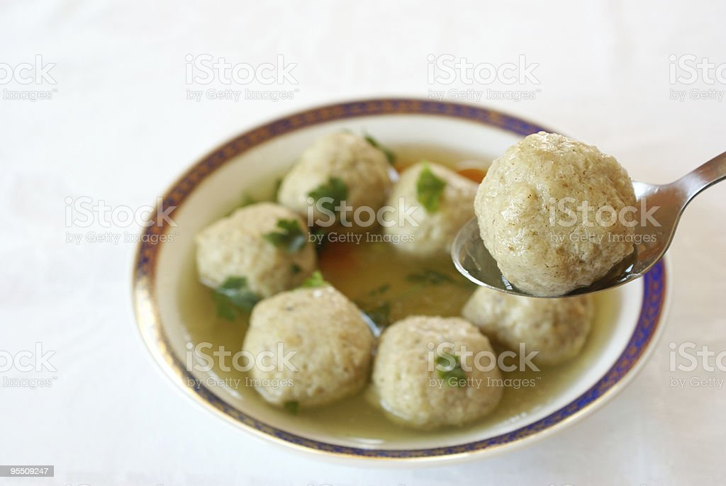Matzo (Matzah) balls soup royalty-free stock photo