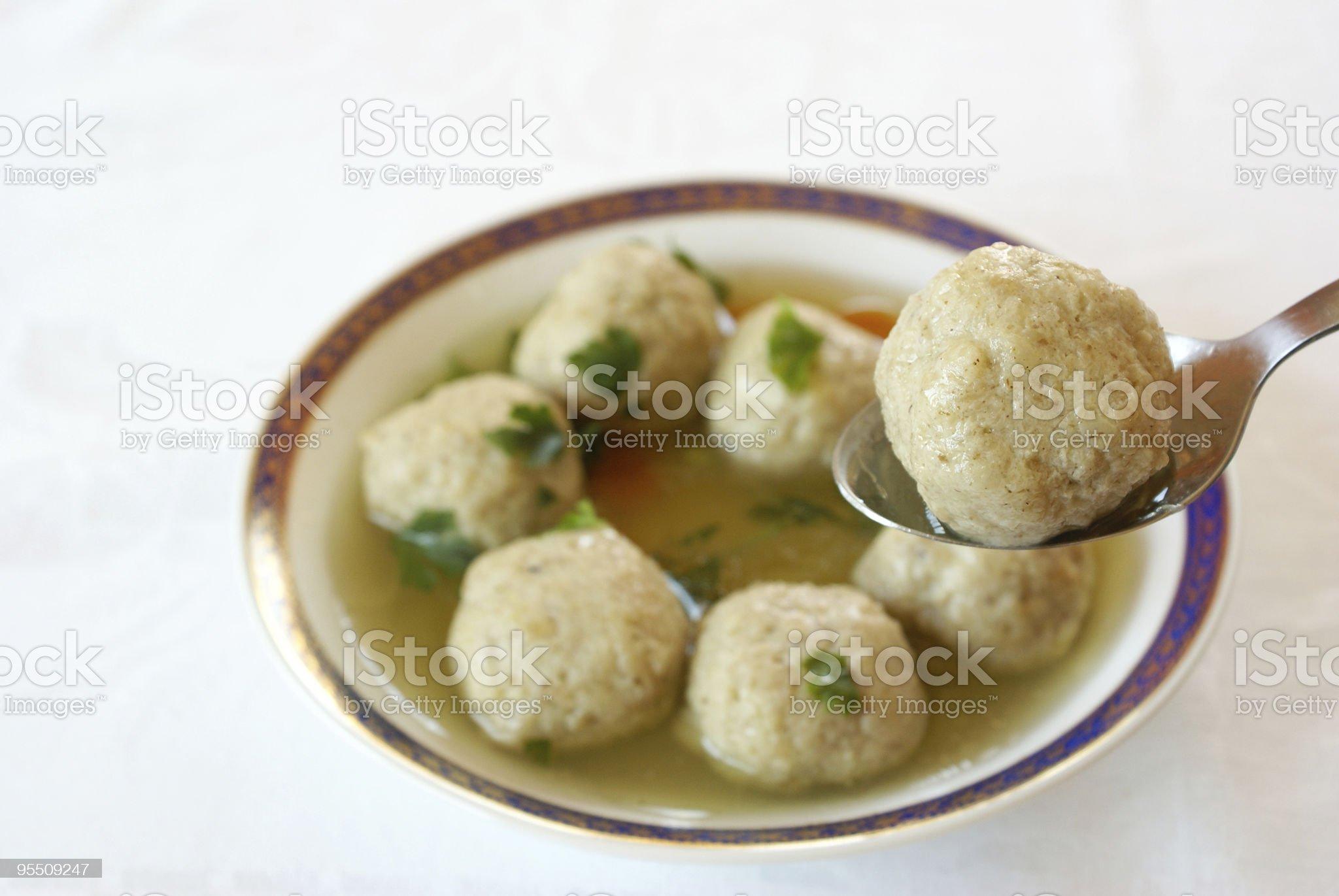 Matzo (Matzah) balls soup royalty-free stock photo