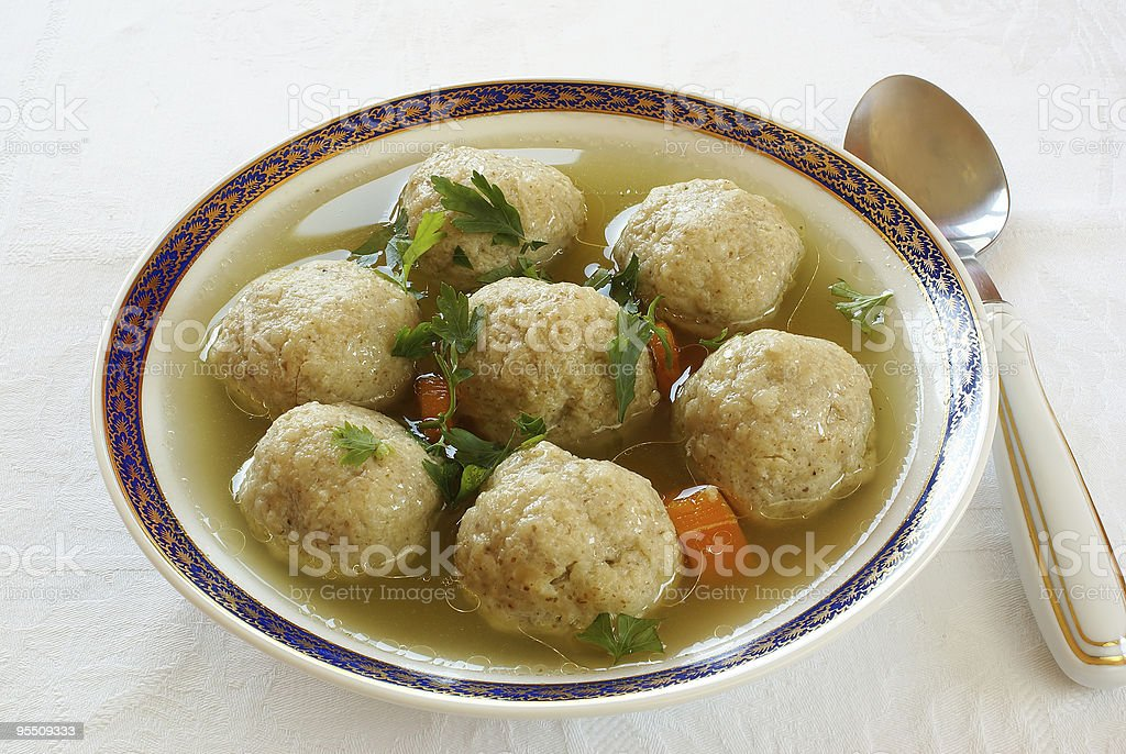 Matzo (Matzah) balls soup stock photo