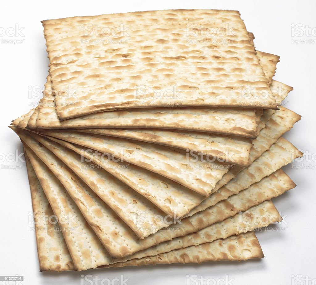 Matzo bread stacked in a spiral manner stock photo