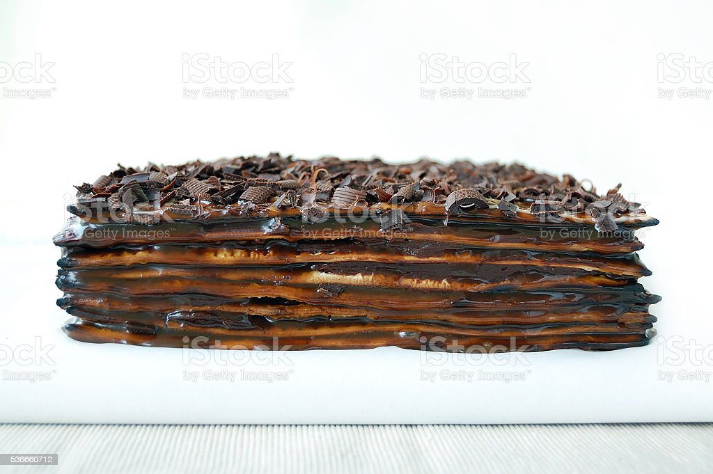 Matzo caramel and chocolate cake stock photo