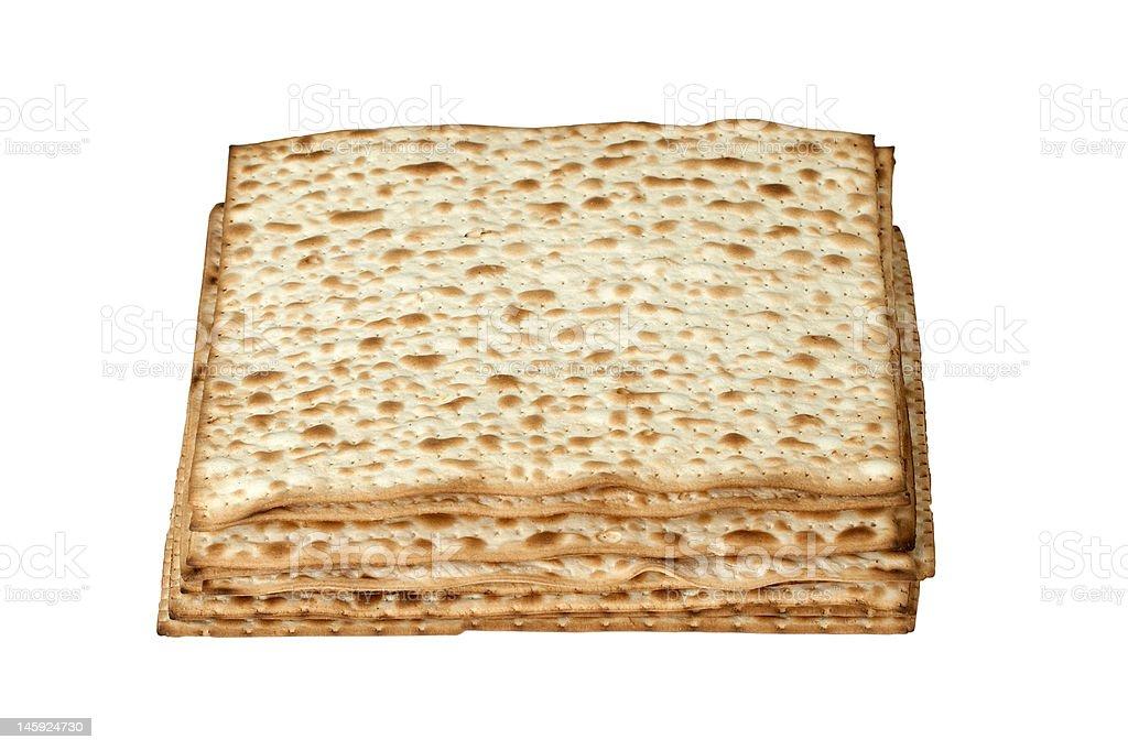 matzo. jewish passover bread isolated on white stock photo