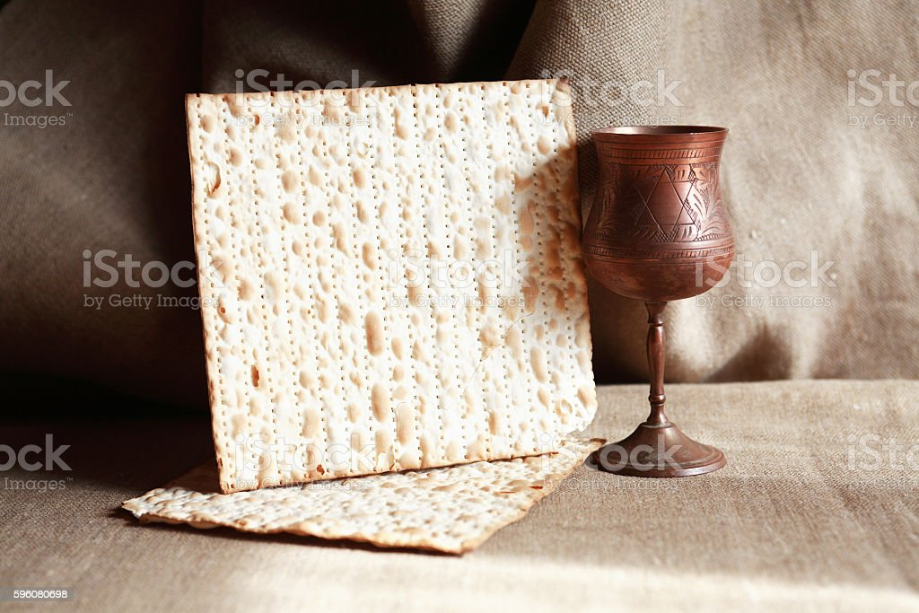 Matzoh Near Wineglass stock photo