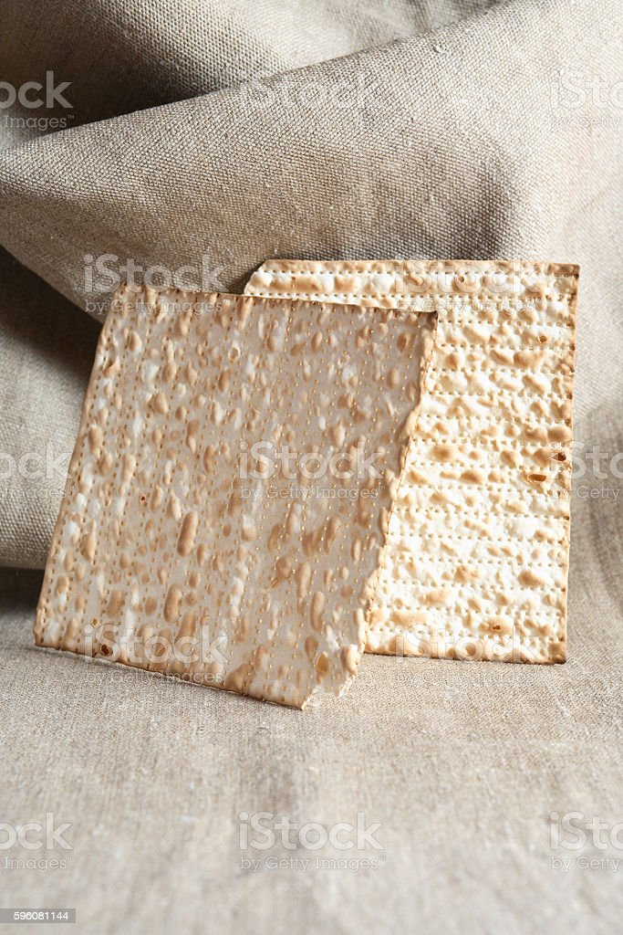 Matzoh On Canvas Background stock photo