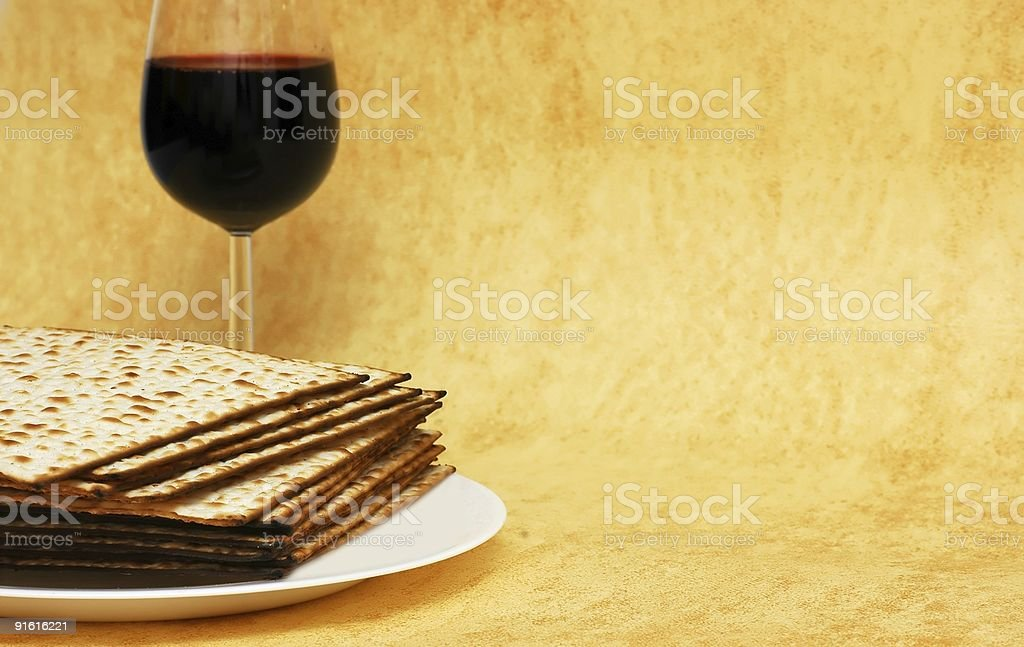 Matzot and red wine -symbols of Passover stock photo