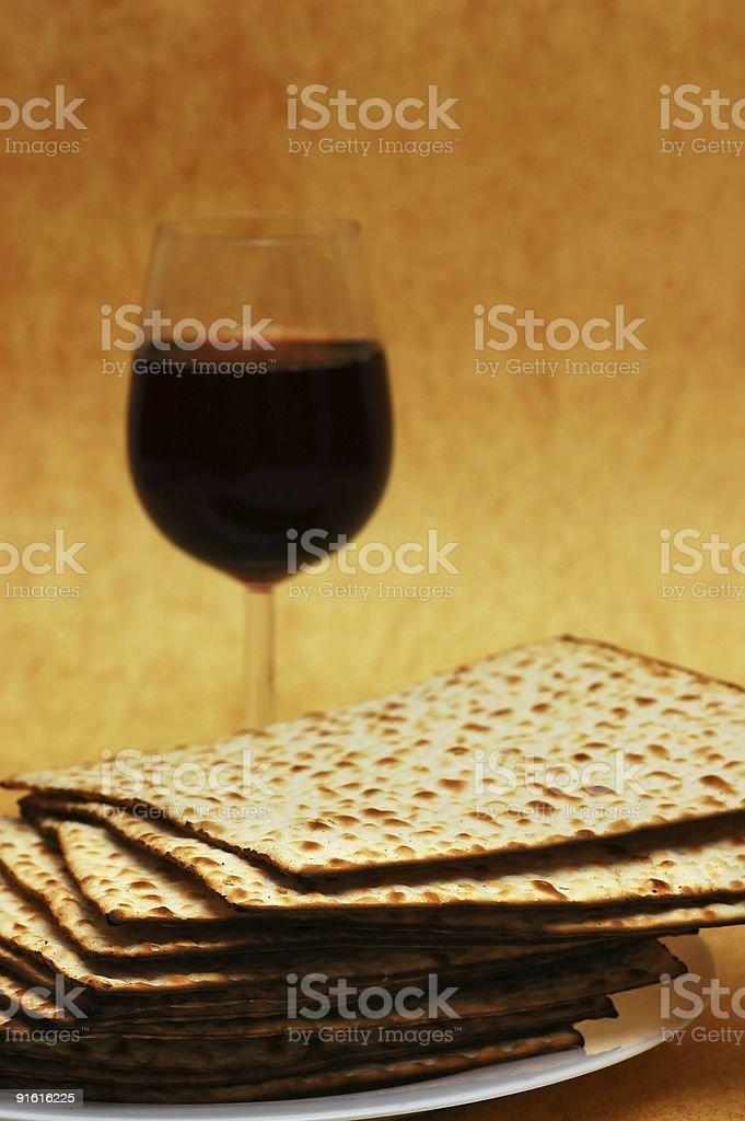 Matzot and red wine -symbols of Passover stock photo