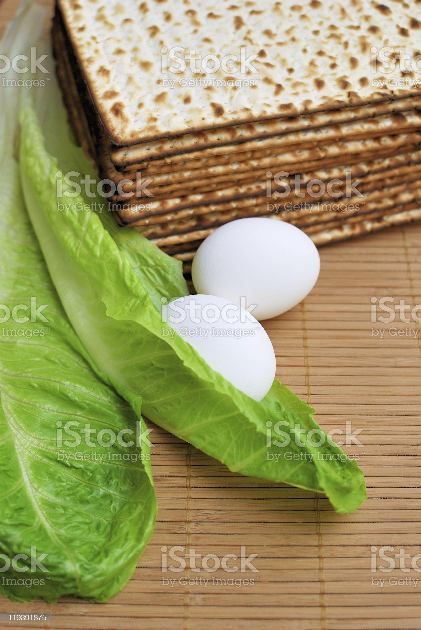 Matzot, eggs and lettuce royalty-free stock photo