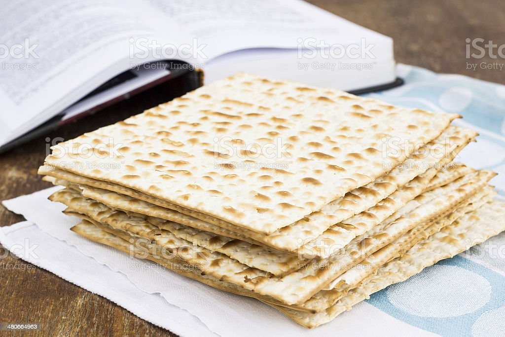 Matzot  for passover celebration on a wooden table royalty-free stock photo