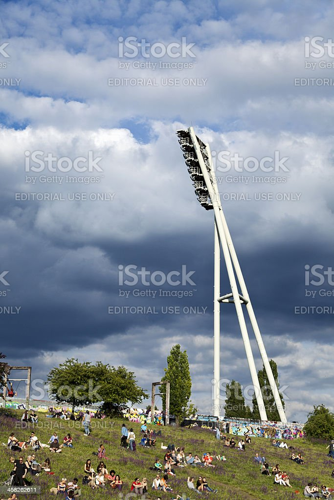 Mauerpark Stadium Lighting Tower and Hill Berlin Germany royalty-free stock photo