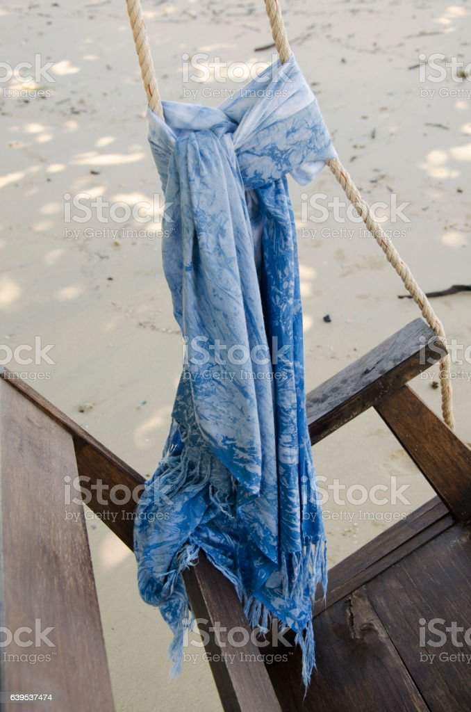 Mauhom indigo natural color fabric tie on the swings chair stock photo
