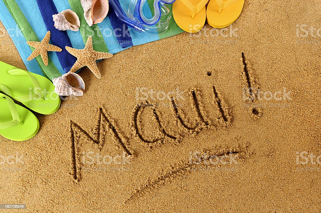 Maui! beach writing royalty-free stock photo