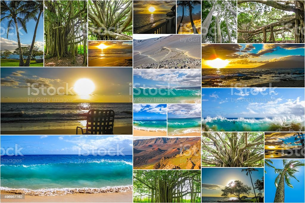 Maui beaches collage stock photo