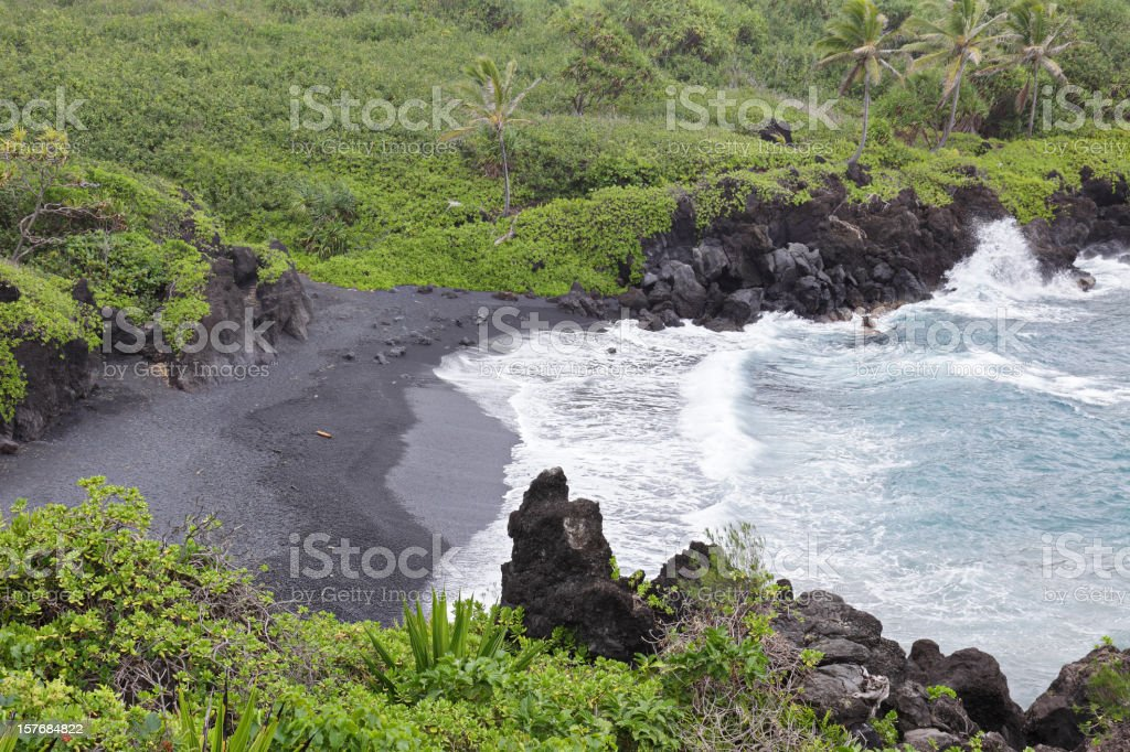 Maui Black Sand Beach stock photo