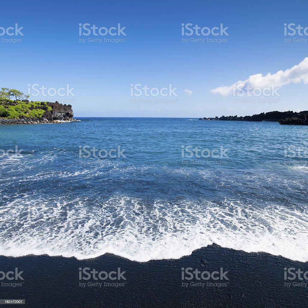 Maui Black Sand Beach Wainapanapa State Park Hawaii stock photo