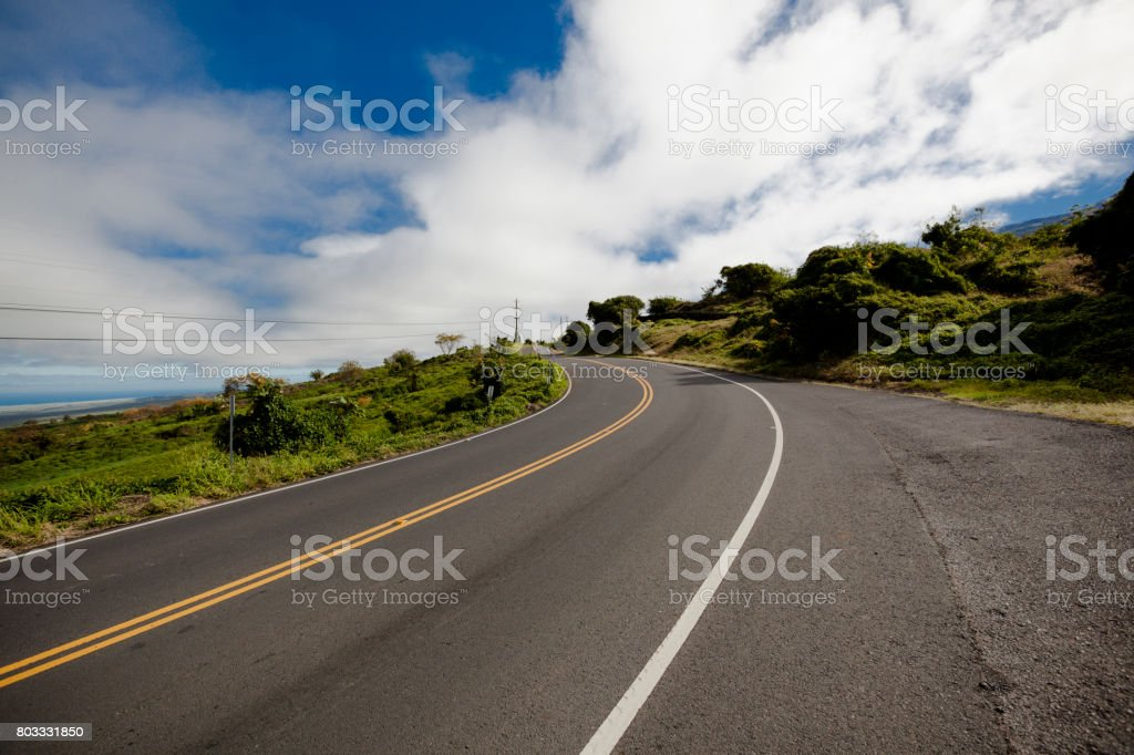 maui coastal road, hawaii islands stock photo
