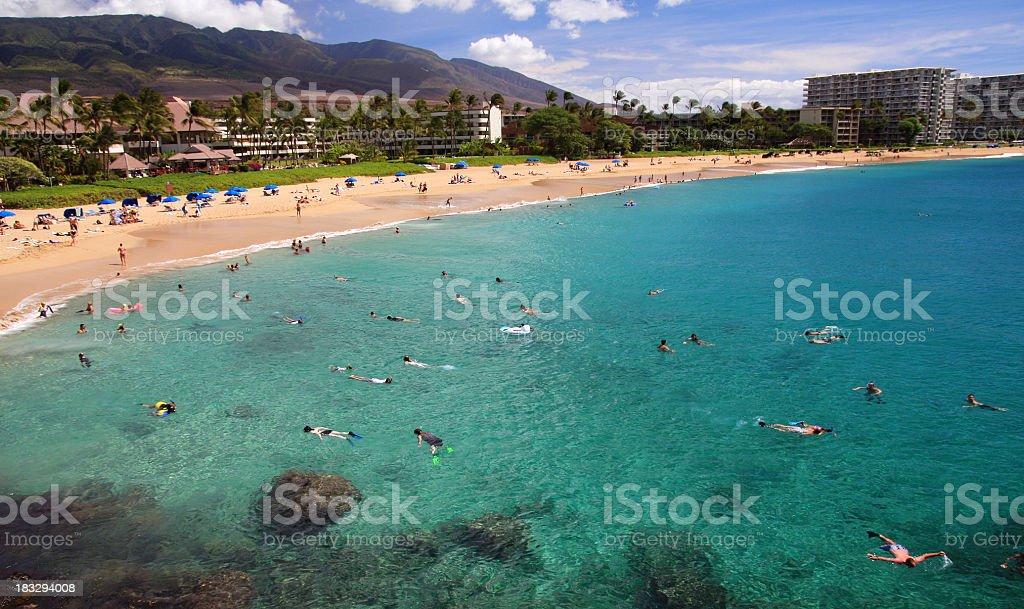 Maui Hawaii Beach ocean front resort at Ka'anapali bay stock photo