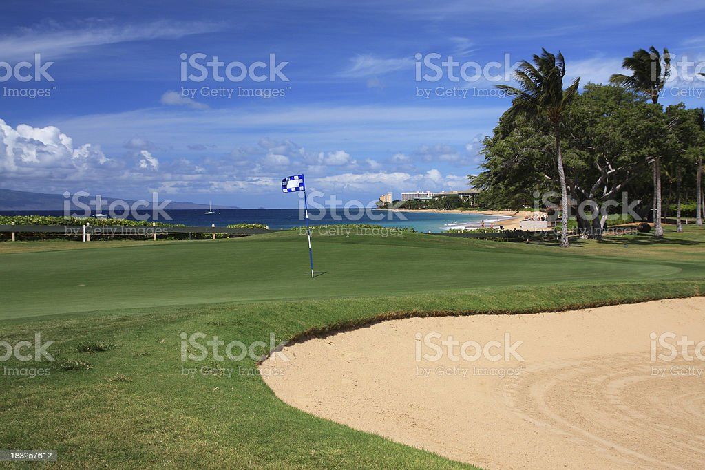 Maui Hawaii Beach ocean front resort golf course hole royalty-free stock photo