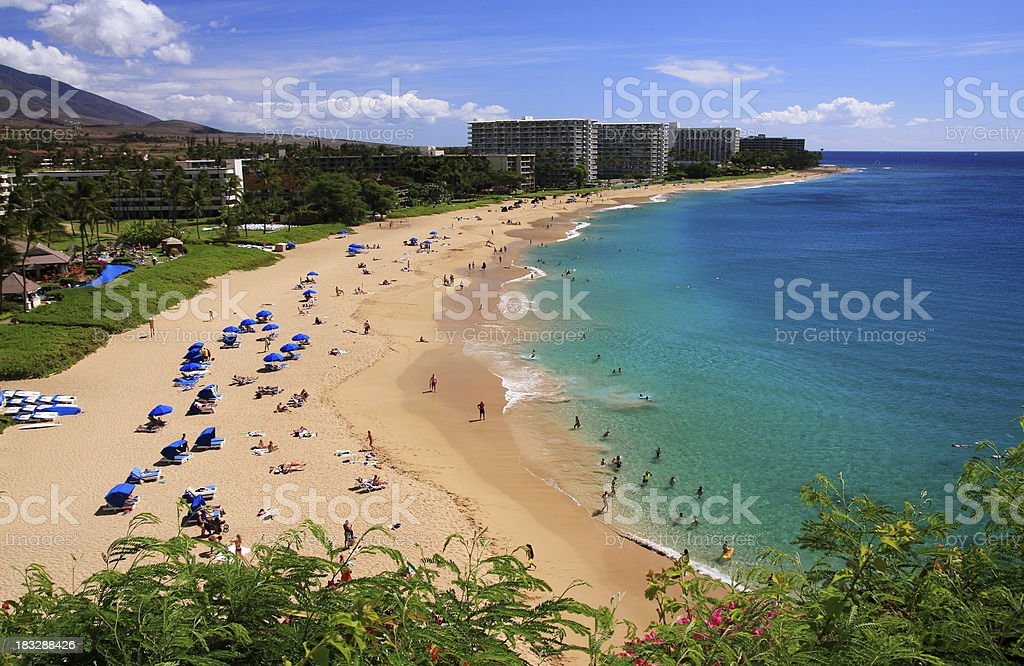 Maui Hawaii Beach ocean front resort hotel at Ka'anapali bay stock photo