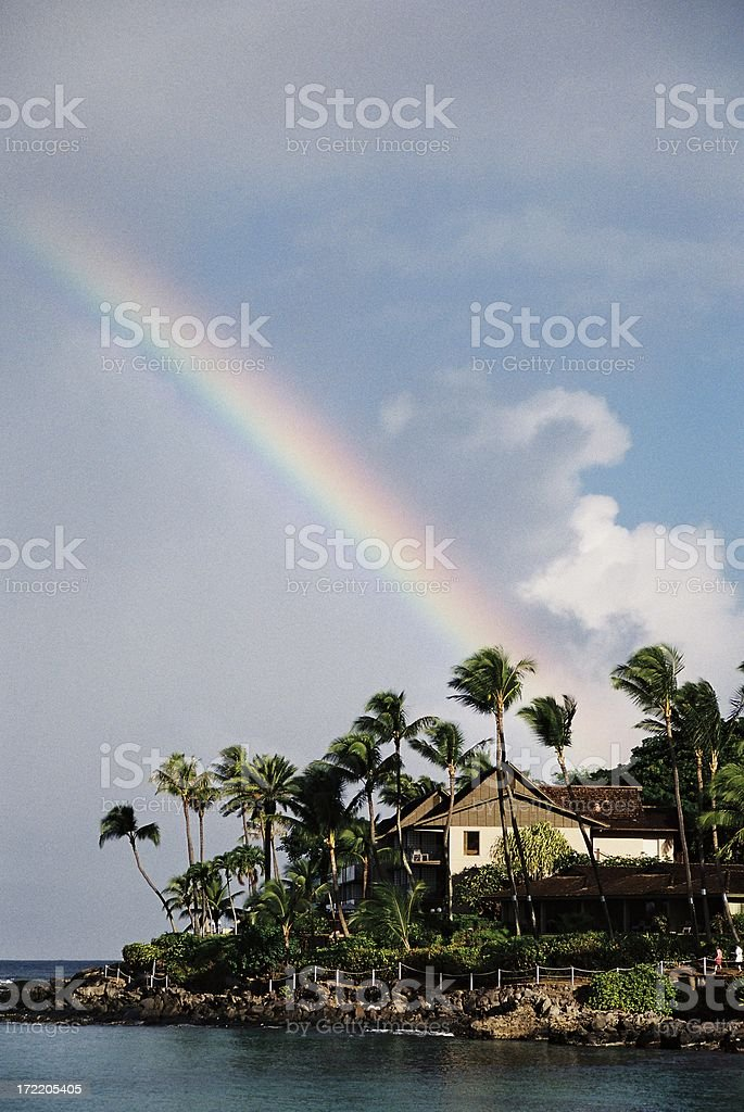 Maui Hawaii beach Pacific ocean resort hotel rainbow scenic stock photo
