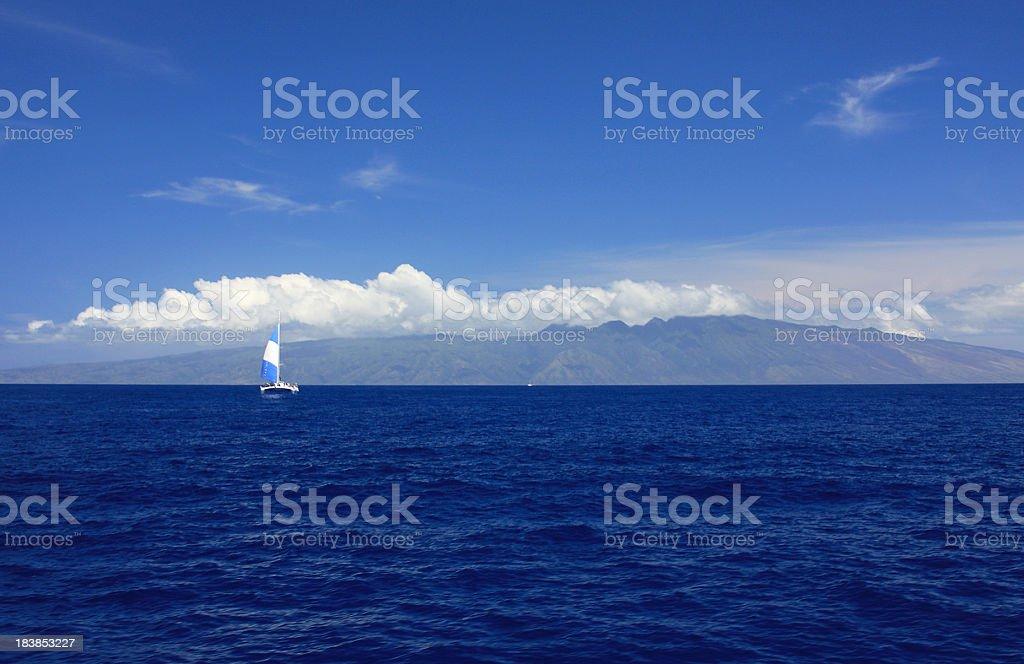 Maui Hawaii beach Pacific ocean scenic looking at Molokai stock photo