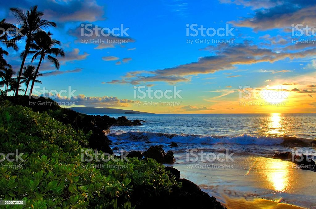 Maui Hawaii Beach Sunset stock photo